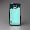 The Aqua Green Abstract Swirls with Dark Skin-Sert Case for the Samsung Galaxy S5