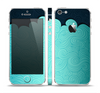 The Aqua Green Abstract Swirls with Dark Skin Set for the Apple iPhone 5