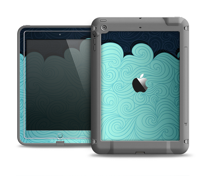 The Aqua Green Abstract Swirls with Dark Apple iPad Air LifeProof Fre Case Skin Set