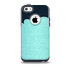 The Aqua Green Abstract Swirls with Dark Skin for the iPhone 5c OtterBox Commuter Case