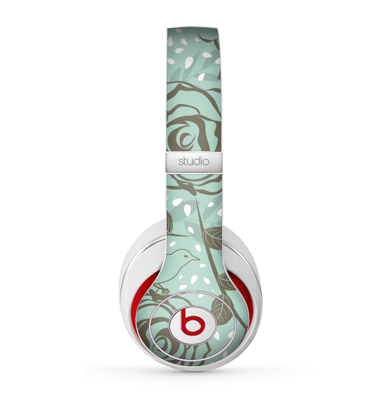 The Toned Green Vector Roses and Birds Skin for the Beats by Dre Studio (2013+ Version) Headphones