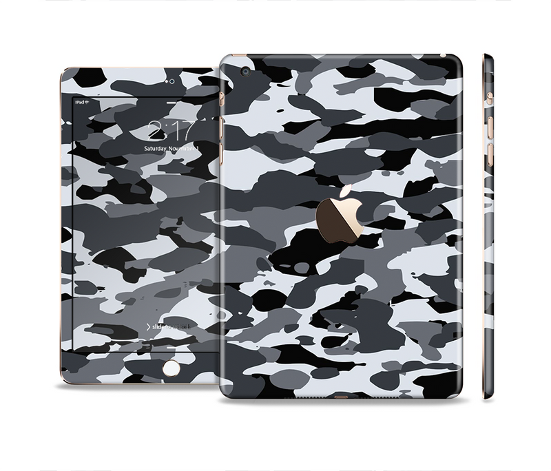 The Traditional Black & White Camo Full Body Skin Set for the Apple iPad Mini 3