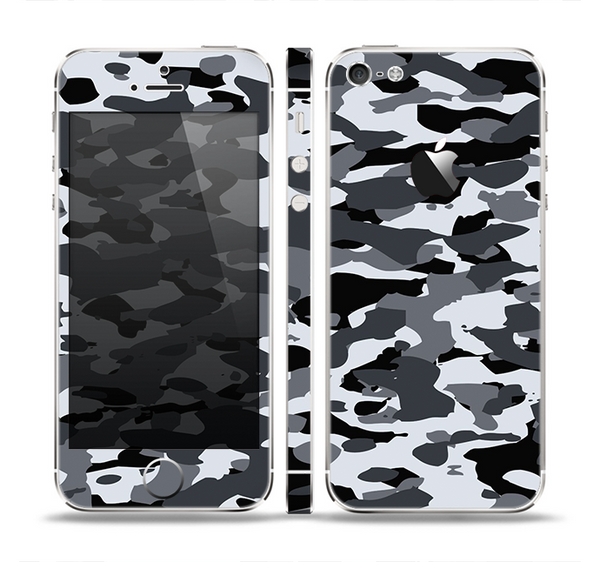 The Traditional Black & White Camo Skin Set for the Apple iPhone 5