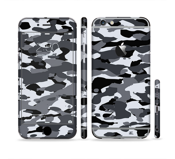 The Traditional Black & White Camo Sectioned Skin Series for the Apple iPhone 6 Plus