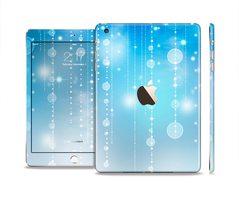 The Translucent Blue & White Jewels Full Body Skin Set for the Apple iPad Mini 3