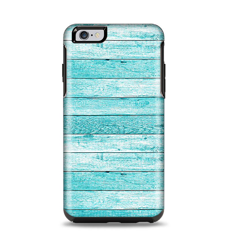 The Trendy Blue Abstract Wood Planks Apple iPhone 6 Plus Otterbox Symmetry Case Skin Set
