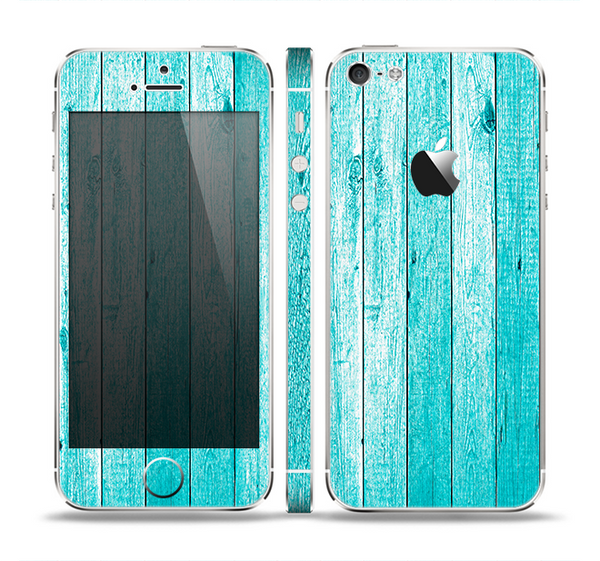 The Trendy Blue Abstract Wood Planks Skin Set for the Apple iPhone 5
