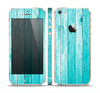 The Trendy Blue Abstract Wood Planks Skin Set for the Apple iPhone 5s