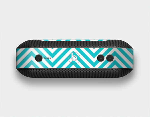 The Trendy Blue & White Sharp Chevron Pattern Skin Set for the Beats Pill Plus