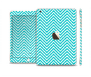 The Trendy Blue & White Sharp Chevron Pattern Full Body Skin Set for the Apple iPad Mini 3