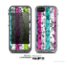 The Trendy Colored Striped Abstract Cube Pattern Skin for the Apple iPhone 5c LifeProof Case
