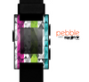 The Trendy Colored Striped Abstract Cube Pattern Skin for the Pebble SmartWatch