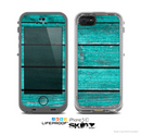 The Trendy Green Washed Wood Planks Skin for the Apple iPhone 5c LifeProof Case