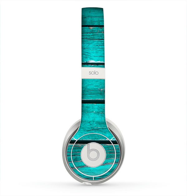 The Trendy Green Washed Wood Planks Skin for the Beats by Dre Solo 2 Headphones