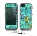 The Trendy Green with Splattered Paint Droplets Skin for the Apple iPhone 5c LifeProof Case