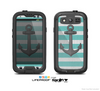 The Trendy Grunge Green Striped With Anchor Skin For The Samsung Galaxy S3 LifeProof Case