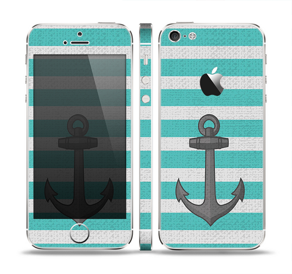 The Trendy Grunge Green Striped With Anchor Skin Set for the Apple iPhone 5