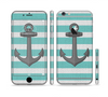 The Trendy Grunge Green Striped With Anchor Sectioned Skin Series for the Apple iPhone 6