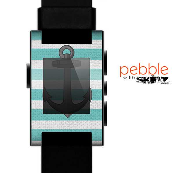The Trendy Grunge Green Striped With Anchor Skin for the Pebble SmartWatch