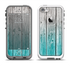 The Trendy Teal to White Aged Wood Planks Apple iPhone 5-5s LifeProof Fre Case Skin Set