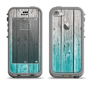 The Trendy Teal to White Aged Wood Planks Apple iPhone 5c LifeProof Nuud Case Skin Set