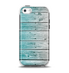 The Trendy Teal to White Aged Wood Planks Apple iPhone 5c Otterbox Symmetry Case Skin Set