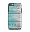 The Trendy Teal to White Aged Wood Planks Apple iPhone 6 Plus Otterbox Symmetry Case Skin Set