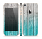 The Trendy Teal to White Aged Wood Planks Skin Set for the Apple iPhone 5s