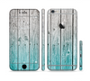 The Trendy Teal to White Aged Wood Planks Sectioned Skin Series for the Apple iPhone 6