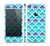 The Triangular Teal & Purple Abstract Cubes Skin Set for the Apple iPhone 5