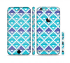 The Triangular Teal & Purple Abstract Cubes Sectioned Skin Series for the Apple iPhone 6