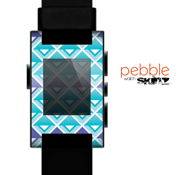 The Triangular Teal & Purple Abstract Cubes Skin for the Pebble SmartWatch