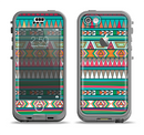 The Tribal Vector Green & Pink Abstract Pattern V3 Apple iPhone 5c LifeProof Nuud Case Skin Set