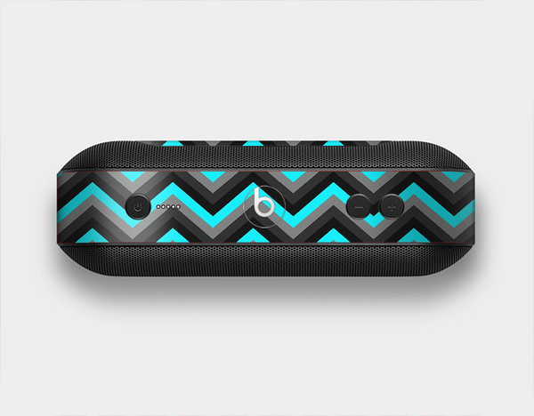 The Turquoise-Black-Gray Chevron Pattern Skin Set for the Beats Pill Plus