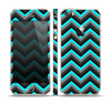 The Turquoise-Black-Gray Chevron Pattern Skin Set for the Apple iPhone 5s
