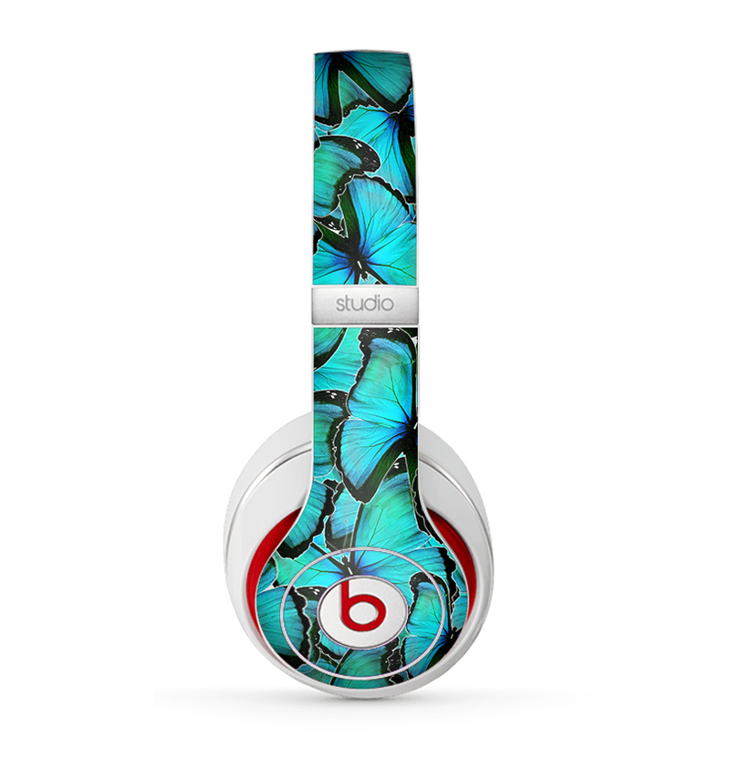 The Turquoise Butterfly Bundle Skin for the Beats by Dre Studio (2013+ Version) Headphones