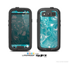 The Turquoise Fancy White Floral Design Skin For The Samsung Galaxy S3 LifeProof Case