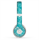 The Turquoise Fancy White Floral Design Skin for the Beats by Dre Solo 2 Headphones