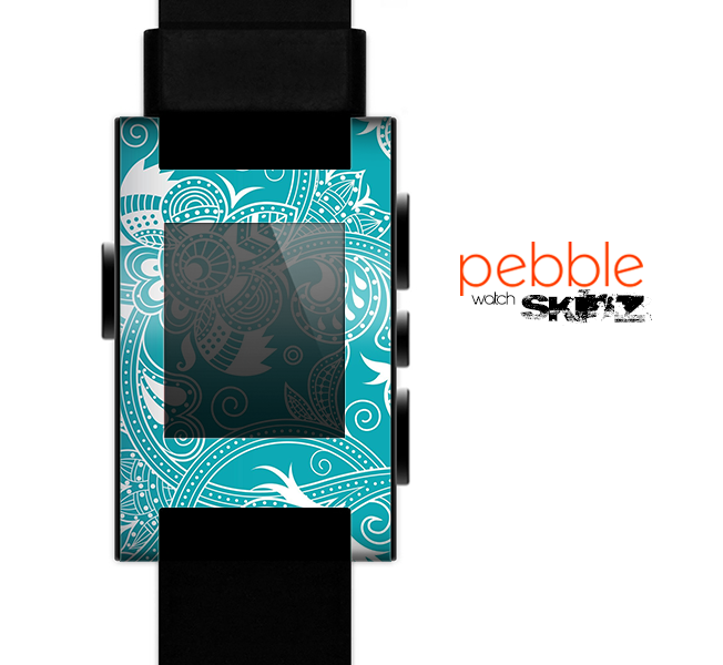 The Turquoise Fancy White Floral Design Skin for the Pebble SmartWatch