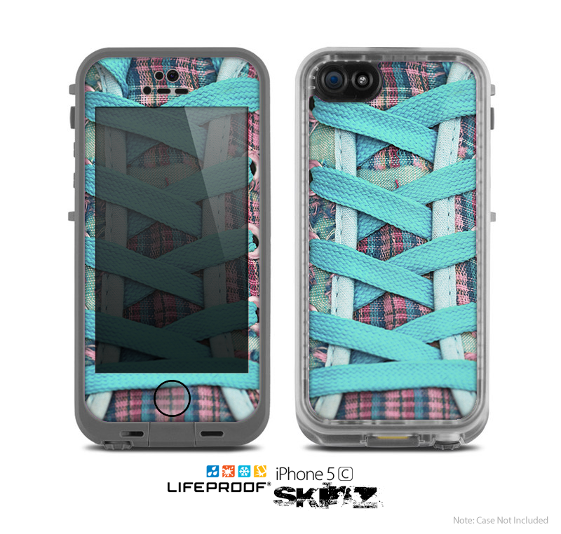 The Turquoise Laced Shoe Skin for the Apple iPhone 5c LifeProof Case