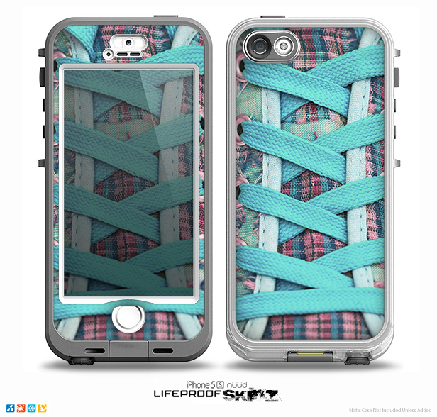The Turquoise Laced Shoe Skin for the iPhone 5-5s NUUD LifeProof Case for the LifeProof Skin