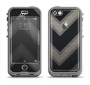 The Two-Toned Dark Black Wide Chevron Pattern Apple iPhone 5c LifeProof Nuud Case Skin Set