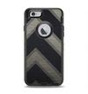 The Two-Toned Dark Black Wide Chevron Pattern Apple iPhone 6 Otterbox Defender Case Skin Set