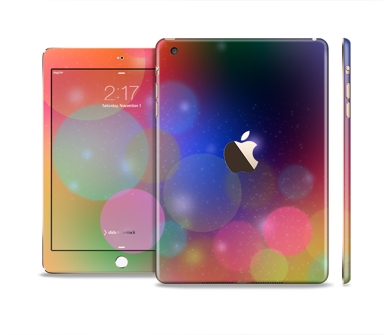 The Unfocused Color Rainbow Bubbles Full Body Skin Set for the Apple iPad Mini 3