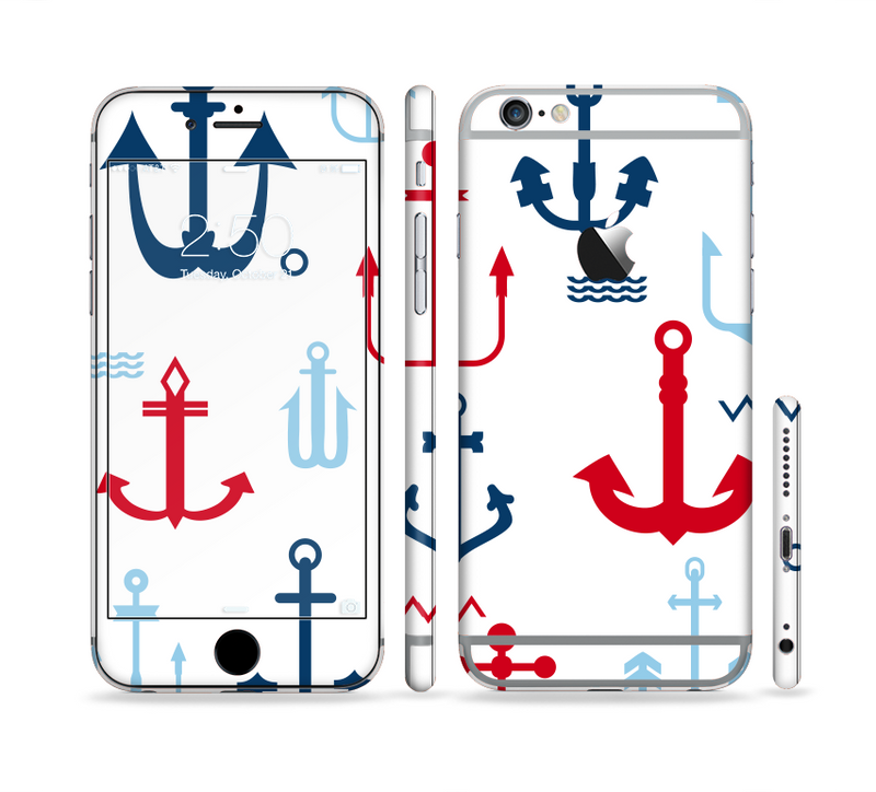 The Various Anchor Colored Icons Sectioned Skin Series for the Apple iPhone 6s