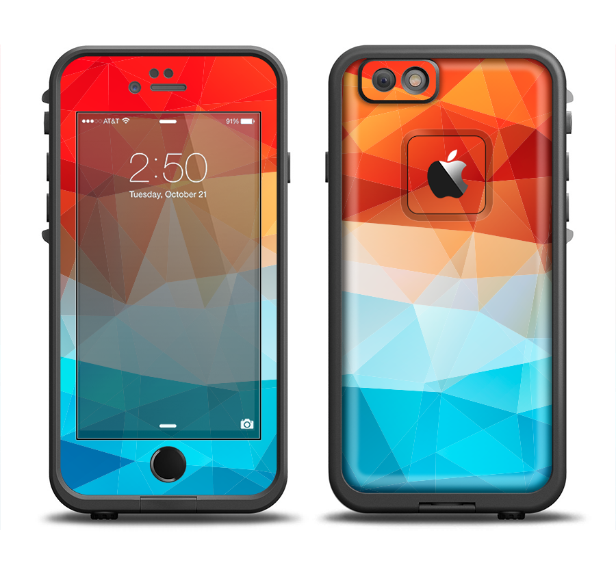 reputable site 8f591 0d711 The Vector Abstract Shaped Blue-Orange Overlay Apple iPhone 6/6s Plus  LifeProof Fre Case Skin Set