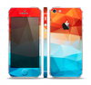 The Vector Abstract Shaped Blue-Orange Overlay Skin Set for the Apple iPhone 5