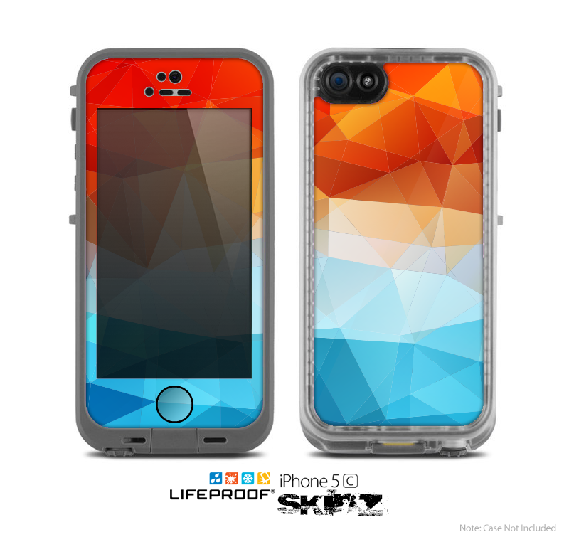 buy popular 7f101 738b4 The Vector Abstract Shaped Blue-Orange Overlay Skin for the Apple iPhone 5c  LifeProof Case
