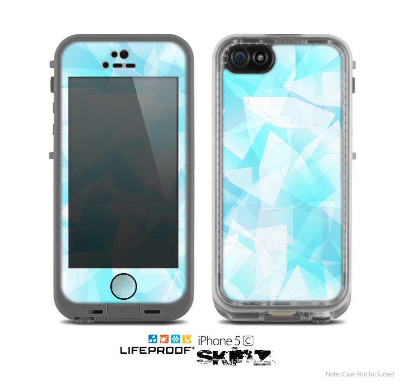 The Vector Abstract Shaped Blue Overlay Skin for the Apple iPhone 5c LifeProof Case