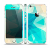 The Vector Abstract Shaped Blue Overlay V2 Skin Set for the Apple iPhone 5